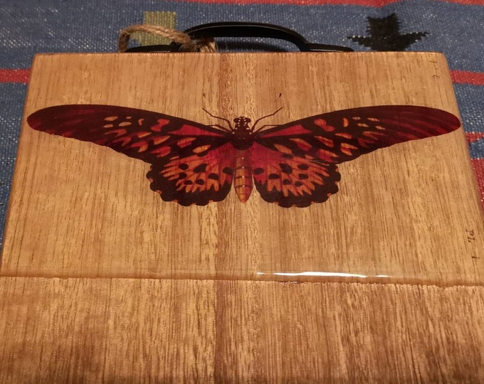 Timber serving board customised with antique butterfly print
