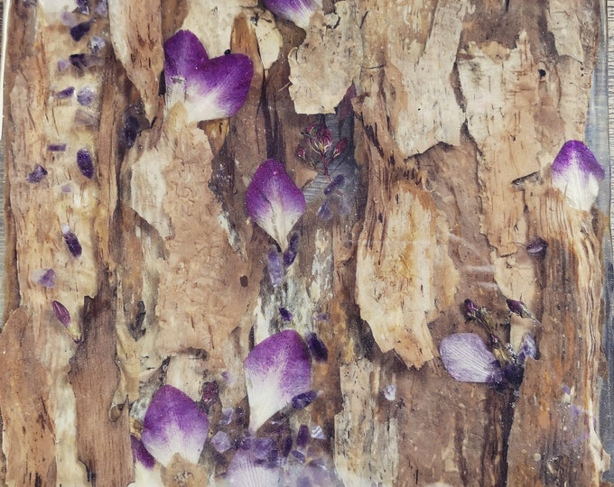 Bark, orchid and amethyst resin table centrepiece