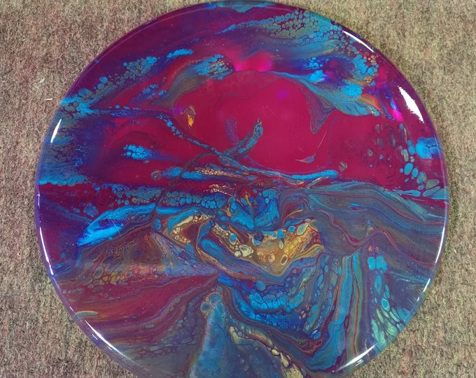 SOLD - Original Acrylic and resin abstract artwork -  Table Centrepiece - Inspired by Thin Section Mineral Photography