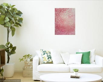 Original fluid painting on canvas - 'Rock Salt' - inspired by Rose Quartz