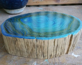 Resin art Table Centrepiece custom painted in abstract style