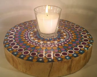 Tree ring mandala table centrepiece, with original artwork