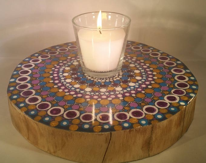 Tree ring mandala table centrepiece, with original artwork