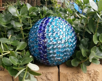 Garden Ball with mosaic glass pebble artwork
