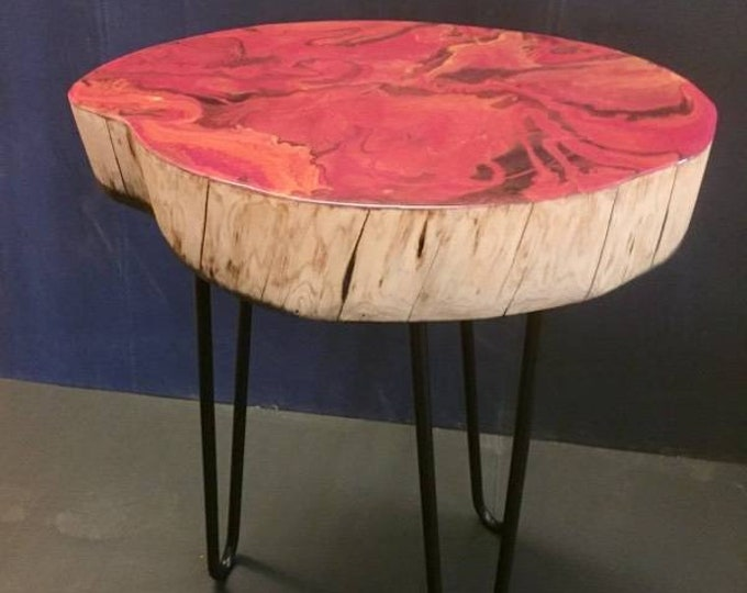 Resin coffee table made from coastal cypress