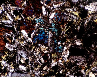 Mineral Thin Section Photography - Digital Prints on Canvas  and Paper -  Pyroxene and Feldspar