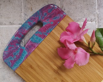 Bamboo serving board with resin artwork