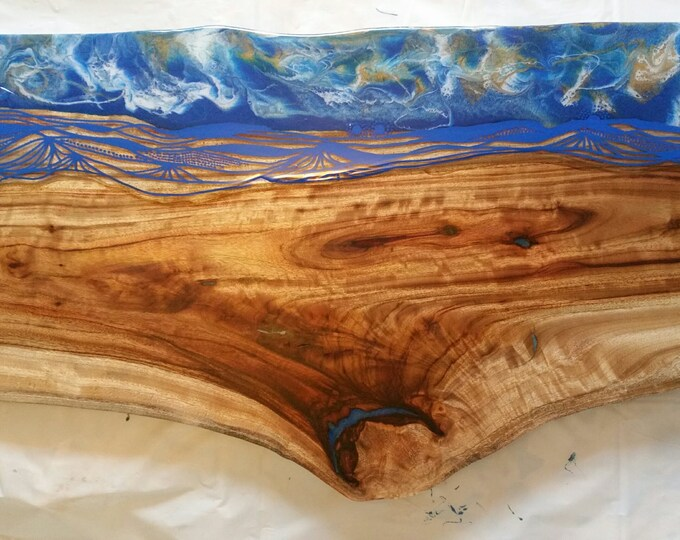 Solid timber and resin coffee table - camphour laurel with original artwork