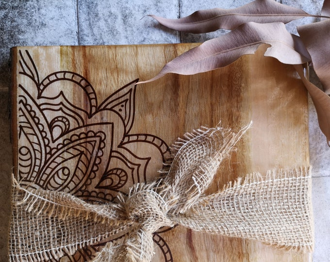Live edge CheeseBoard made from camphour laurel with mandala