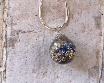Lapis Lazuli Ball Pendant with sterling silver bail and chain
