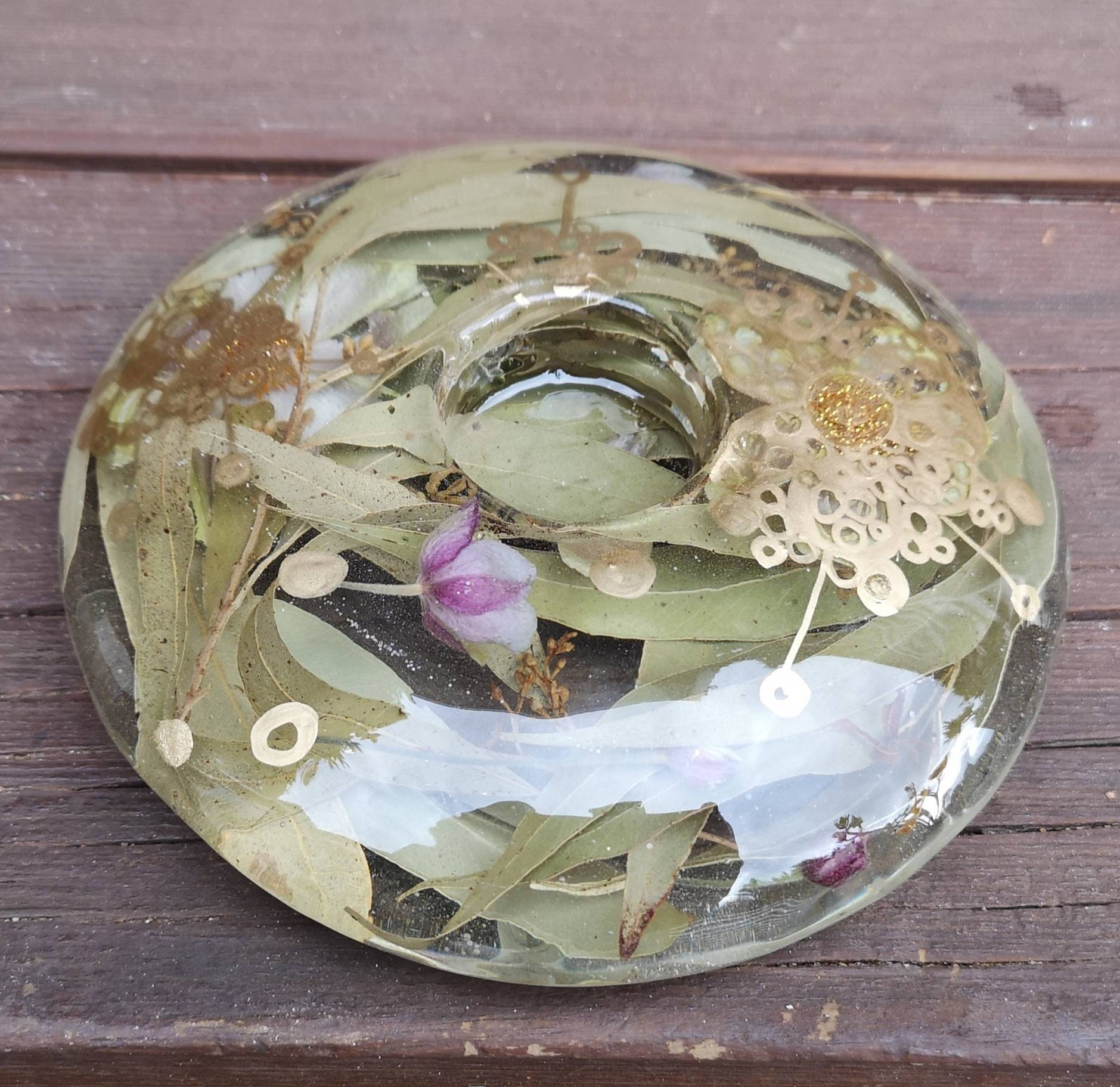 Resin Tea Light Candle Holder With Dried Leaves Flower Buds And Artwork