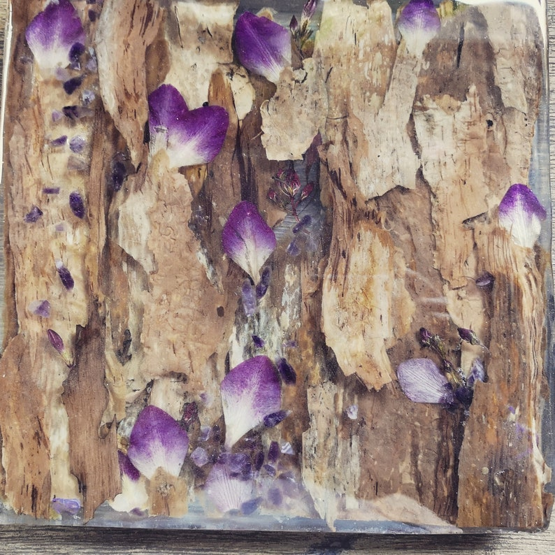 orchid and amethyst resin table centrepiece Bark