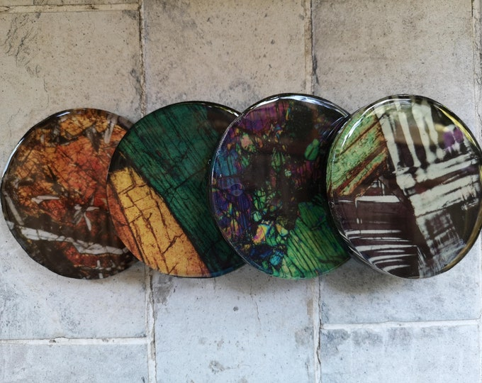 Resin coaster set with mineral photography