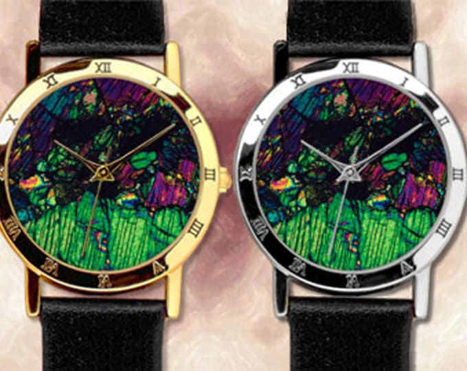 Mineral Art Watch with Leather strap