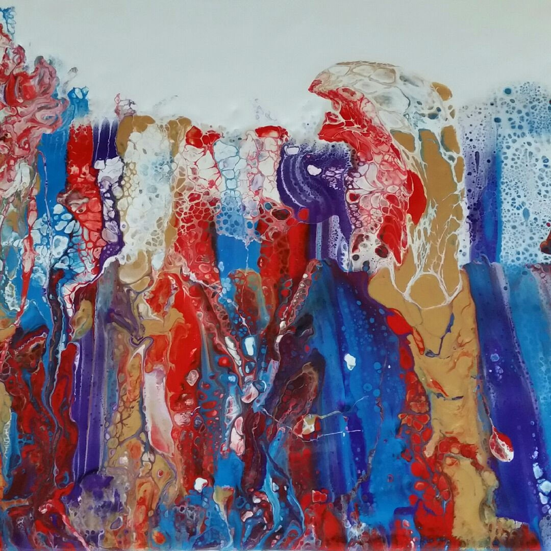 original fluid painting on canvas carnivale blue red and gold
