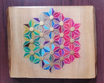 Camohour Laurel Serving board customised with geometric art