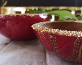 Resin and Wooden bowl hand painted and finished with gold beading