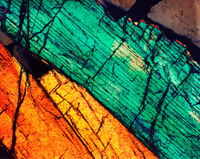Mineral Photography Prints on Canvas and Paper - Thin Section Photos  - Epidote and Quartz