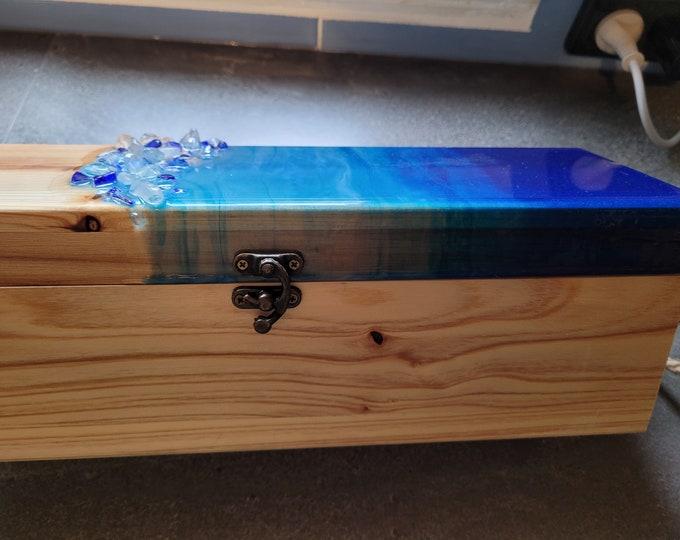 Wooden wine box with original resin artwork and quartz crystals