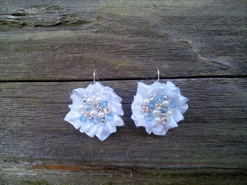 First communion earrings Round shape shiny girly lightweight white blue ear wire earrings embroidered earrings