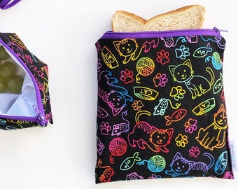 Cat Bags, Cat Pouch, Cat Snack Bag, Food Bags, Reusable Snack Bags, Reusable Food Bags, Reusable Snack Pouch, Kitten Pouch