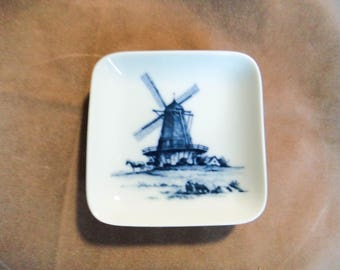 Royal Copenhagen Small Square Plate Windmill White and Blue, with Windmill Made in Denmark