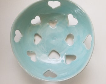 Small blue berry bowl with hearts