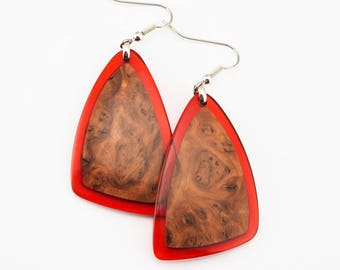 Red Resin and Wood Earrings; Wood and Resin Jewelry, Wood and Resin Earrings, Resin Jewelry; Resin Jewellery; Resin