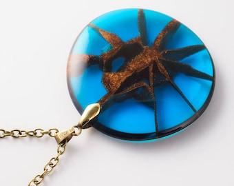 Large Blue Resin Pendant; Kintsugi technique; Resin Jewelry