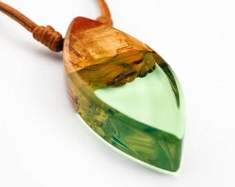 Light Green Fluro Resin and Wood Pendant; Wood and Resin Jewelry, Wood and Resin Pendant;Resin Jewelry; Resin Jewellery; Resin