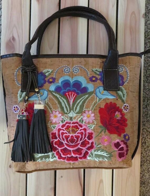 Embroidered cork handbag cork handbag natural cork  97112fe1c80c