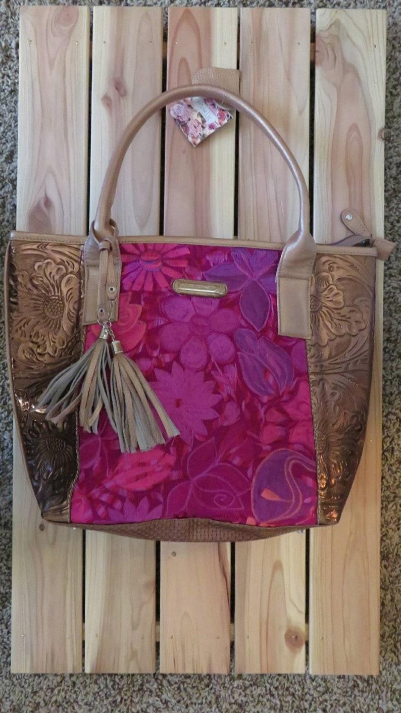 Mexican Purse handbag Embroidered Pink Floral Purse  31b7b95c2c9a