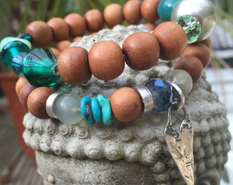"""Made to Order Yoga Stack Stretch Bracelet, Semi Precious """"Green"""" stones, real Silver artisan Heart Charm, Boho Chic Layering."""