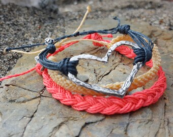 Wild at Heart Woven Stack set REAL artisan silver Heart charm Beachy bracelet