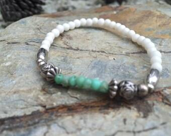 Dainty Chrysoprase, antique Silver and Bone Bead Boho YOGA Bracelet
