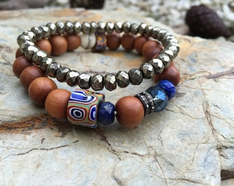 Lapis Tribal Yoga Bracelet with REAL Genuine Pave Diamonds, Sandalwood, Vintage  African Trade Beads, Millefiord.