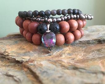 Mystical Fire Topaz charm Sandalwood Stack Bracelet with black Lava Beads