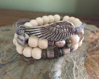 Made to order Winter Angel Skin On white Bone Bead Stretch Bracelet, Genuine Pave Diamonds Designer Style, Boho Winter Chic