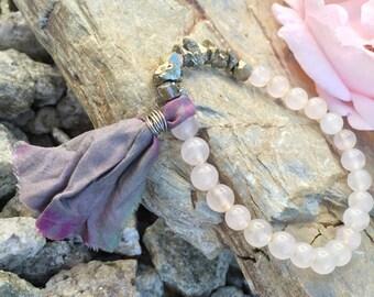 Rose Quartz and Druzy Pyrite Boho Bracelet with Sari Silk wired Tassel