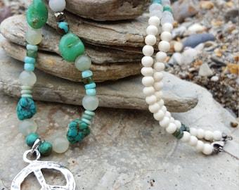 SOLD Artisan REAL silver Peace sign Gemstone mix white Bone Bead Boho Spiritual Necklace