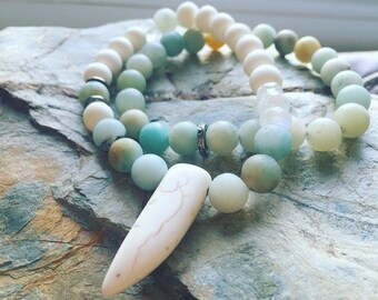 REAL Pave Diamonds and Amazonite gemstone Moonstone Hippie Chic Bracelet