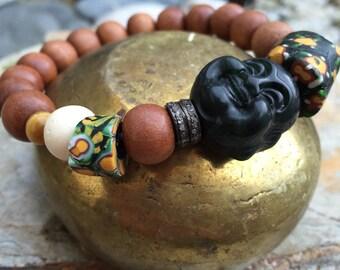 Hand carved Buddha Tribal Yoga Bracelet Pave Diamonds, Sandalwood, Vintage African Trade Beads, Millefiori, Boho Chic....