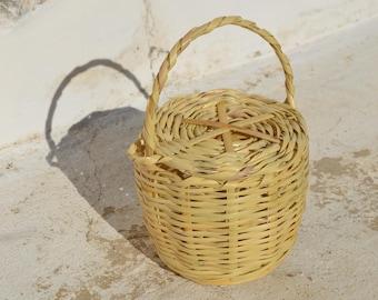 Small Birkin basket, Basket with lid, Cane basket with lid, Small Jane Birkin basket with lid, Handmade basket with lid, Panier, Strohbeutel