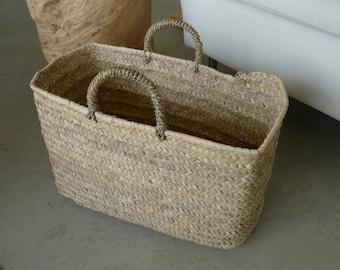Medium palm basket with two handles, Portuguese basket, Handmade basket, Panier, Strohbeutel, Cesta, Kurv, Korb, Market bag, Everyday basket
