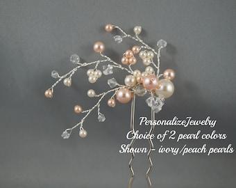 HAIR PIN - Swarovski blue pin, Bridal hair pin, Wedding hair accessory, U pin, Hair vine, Unique handmade pearls crystals hair clip, Bride