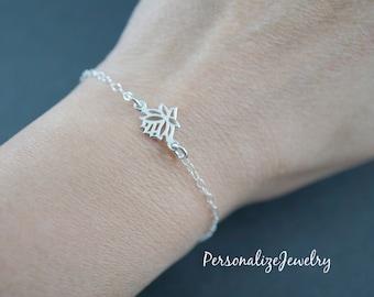 Sterling silver lotus bracelet, adjustable bracelet, lotus jewelry, yoga jewelry, flower bracelet, gift for her, simple delicate everyday