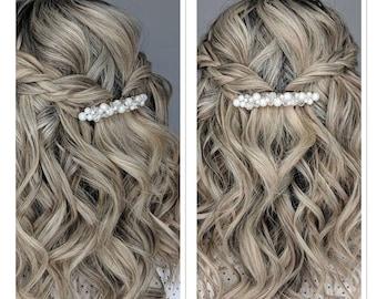 BARRETTE - Wedding bridal, Pearl crystals clip bridesmaid barrette, Pearl Hair Accessory, Wedding Hair Clip, French Barrette headpiece bride