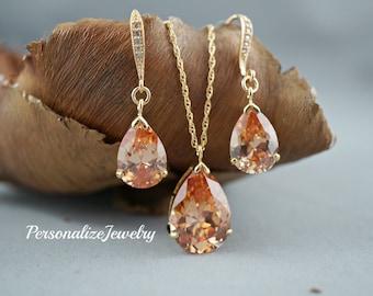 Topaz Necklace Earrings Set, Fall Wedding Jewelry, Topaz Teardrop, Cubic Zirconia Drop, 14k Gold Filled Chain, Pendant Necklace, Large