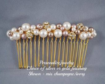 COMB - Spring Wedding Bridal Silver Gold Comb Hair Accessories Pearl Champagne Ivory Bride Bridesmaid Formal Hair Piece Formal French Roll