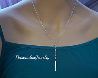 Sterling Silver Lariat Necklace, Silver Bar Drop Necklace, Simple Delicate Necklace, Dainty Necklace, Long Necklace, Simple Y Necklace